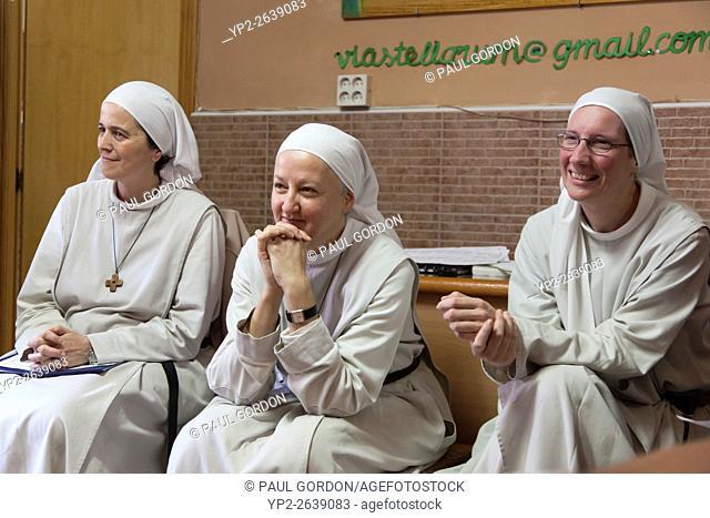 Carrión de los Condes, Spain: The singing nuns of Carrion de Los Condes at the Albergue Parroquial de Santa María. The albergue is operated by the Order of the...