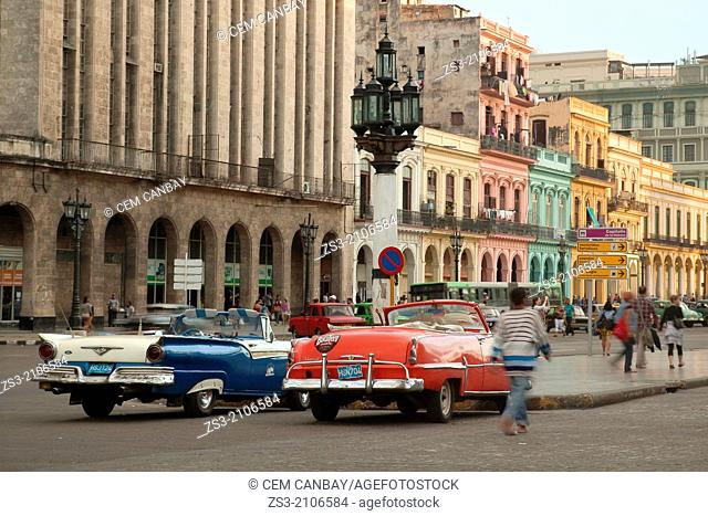 Parked vintage cars near the Capitolio building, Havana, Cuba, West Indies, Central America
