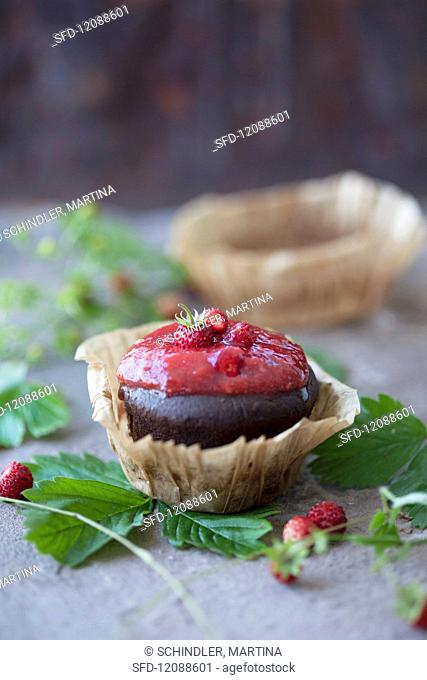 Chocolate cake with strawberry jam