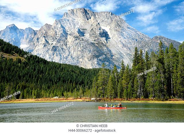 North America, American, USA, Rocky Mountains, West, Grand Teton National Park, Canoe on String lake with Mount Moran