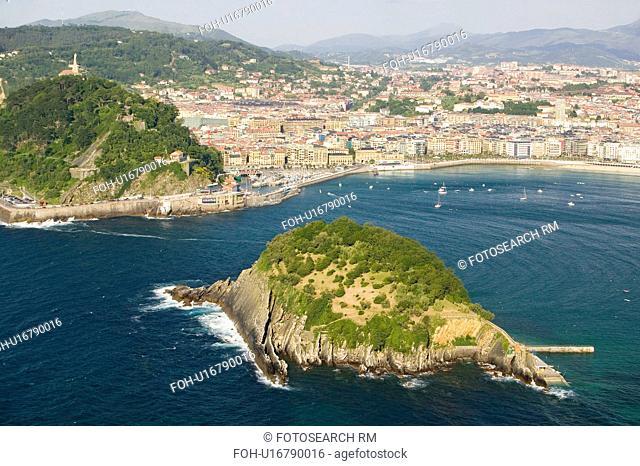 Isla Santa Clara Island in Bahia de La Concha, Donostia-San Sebastian, Basque region of Spain, the Queen of Euskadi's and Cantabrian Coast