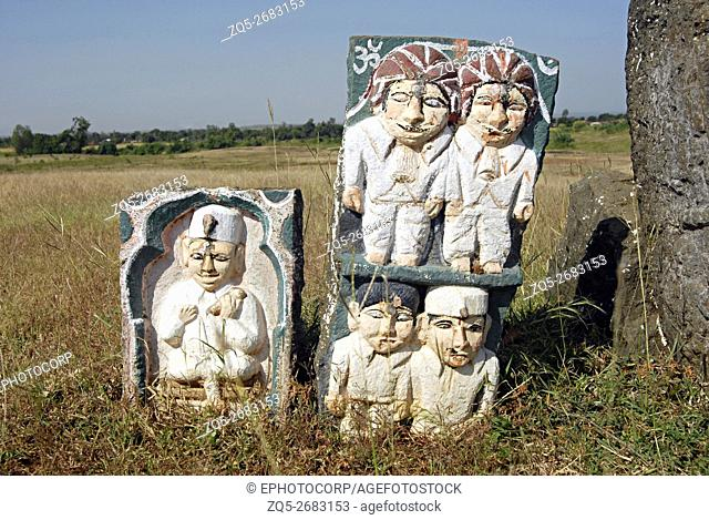 Typical Bhil tribal Graveyard with ancestral memorials of different religion's