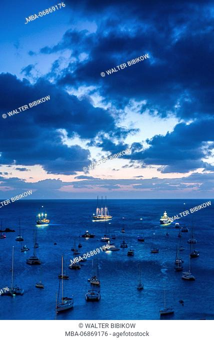 French West Indies, St-Barthelemy, Gustavia, Gustavia Harbor, elevated view from Fort Gustave, dusk
