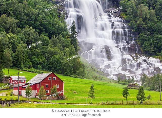 Waterfall in Tvindefossen, More and Romsdal, Norway