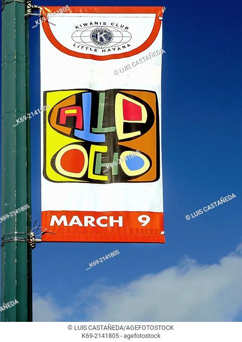 Calle Ocho Carnival Banner. Little Havana. Miami. Florida. USA