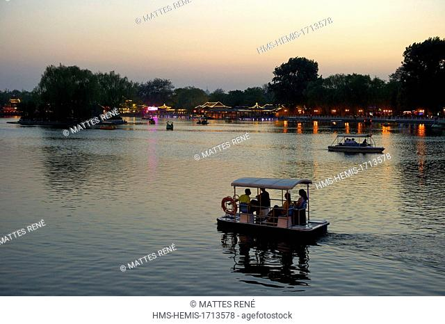 China, Beijing, Xicheng District, Park and lake Houhai