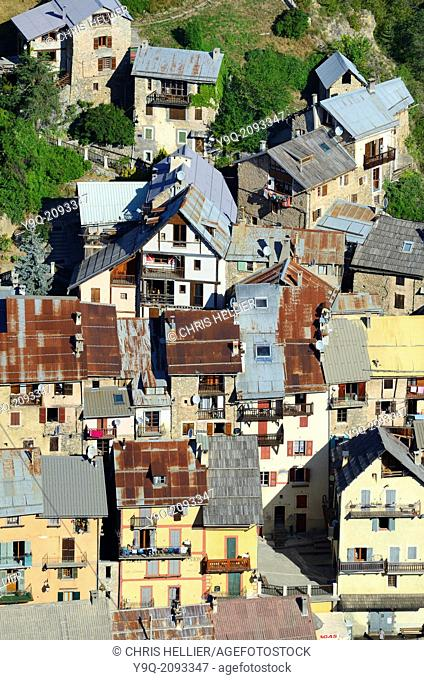 Aerial View of Village Houses at Peone Haut-Var Alpes-Maritimes France