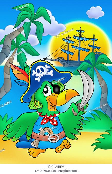 Pirate parrot with boat - color illustration