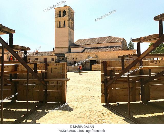 Plaza Mayor as a bullring. Pedraza, Segovia province, Castilla Leon, Spain
