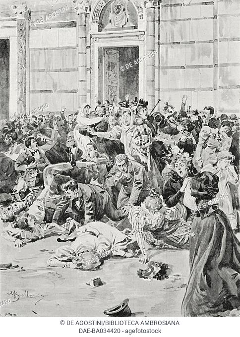 The crowd escaping from Pisa cathedral frightened by a fire starting, Tuscany, Italy, May 29, 1897, drawing by Achille Beltrame (1871-1945)