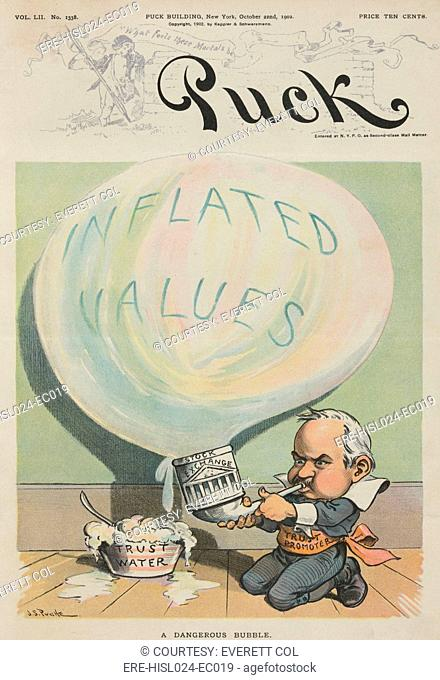 A DANGEROUS BUBBLE 1902 cartoon depicting a man resembling J. Pierpont Morgan labeled 'Trust Promoter' blowing a bubble labeled 'Inflated Values' using 'Trust...