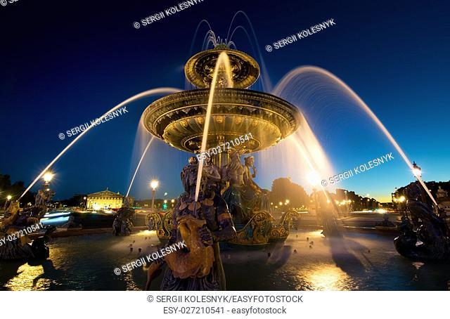 Illuminated Fountain de Mers in Paris, France