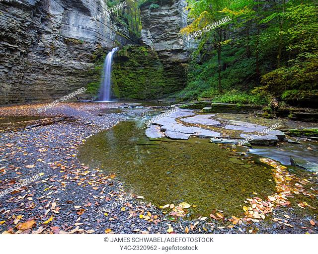 Eagle Cliff Falls in Havanna Glen Park in the Finger Lakes region in the town of Montour Falls New York