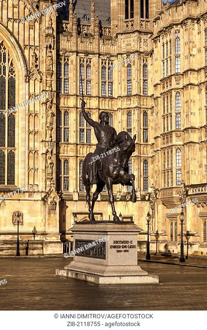 Richard the First,Richard The Lionheart Monument at The Houses of Parliament in the warm afternoon light,London,England
