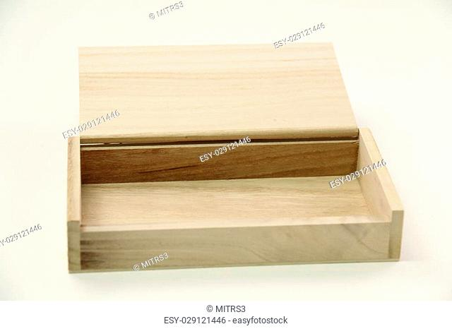 A small wooden box isolated on white.