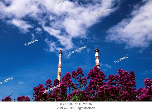 The twin chimney stacks of the Poolbeg electricity generating station on Dublins North Wall, Dublin, Ireland