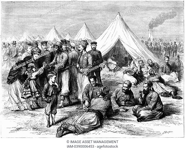 Franco-Prussian War 1870-1871: French prisonser of war camp at Wahn, near Cologne, 1870  The correspondent remarks on the improvement of conditions for...