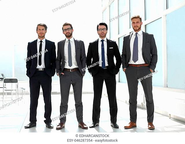 four businessmen standing together.photo with copy space