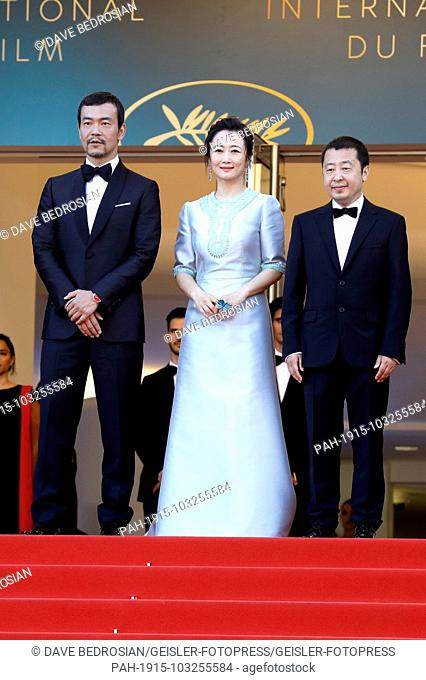 Fan Liao, Tao Zhao and Zhangke Jia attending the 'Ash Is Purest White / Jiang hu er nv' premiere during the 71st Cannes Film Festival at the Palais des...