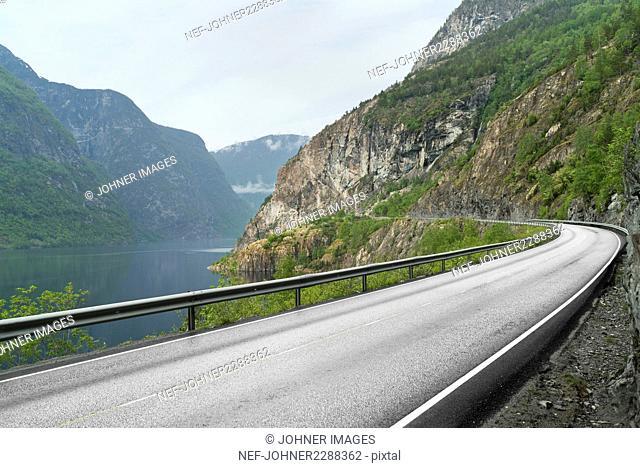View of road at lake