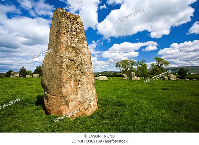 England, Cumbria, Little Salkeld, Long Meg and her daughters, one of the finest stone circles to be found in the north of England