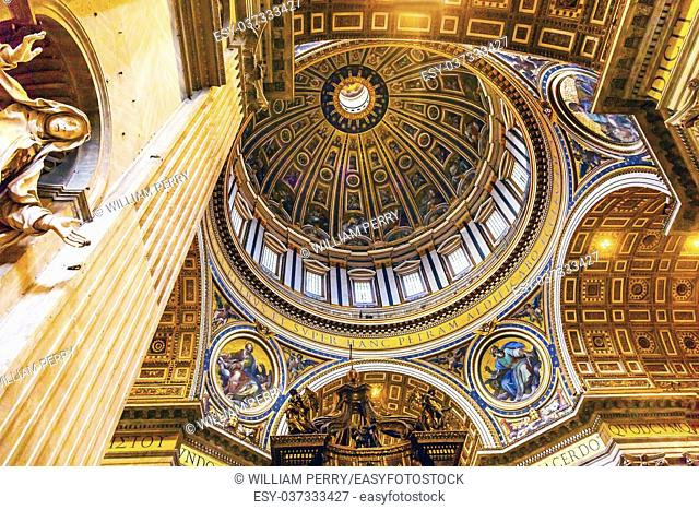 Mary Statue Michelangeolo Dome Saint Peter's Basilica Vatican Rome Italy. Dome built in 1600s over altar and St. Peter's tomb