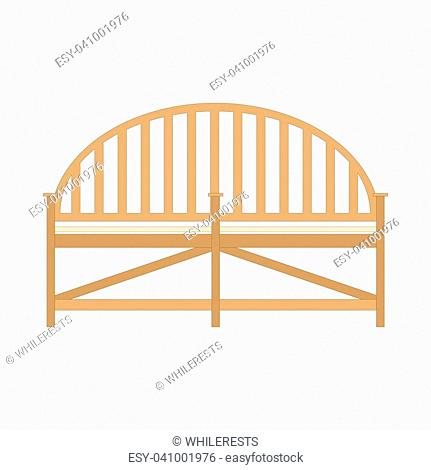 Wooden bench isolated on white. Vector outdoor bench