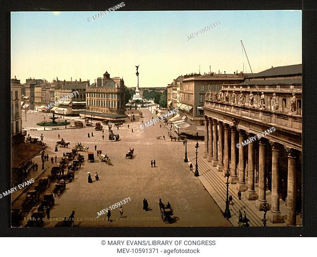 La Comedie and rue Juillet XXX, Bordeaux, France. Date between ca. 1890 and ca. 1900