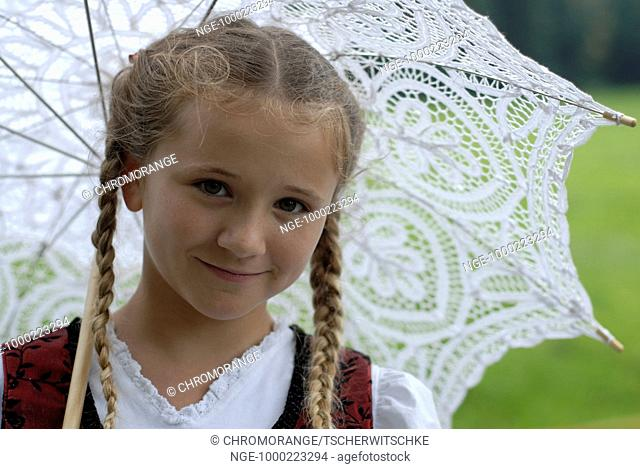 Girl in Costume with Parasol, Bavaria