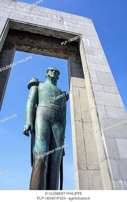 Statue at the Leopold I Esplanade at seaside resort De Panne along the North Sea coast, West Flanders, Belgium