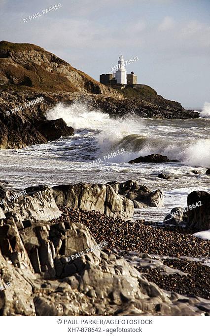Mumbles Lighthouse during a Storm, Mumbles, Gower Peninsular, Wales, UK