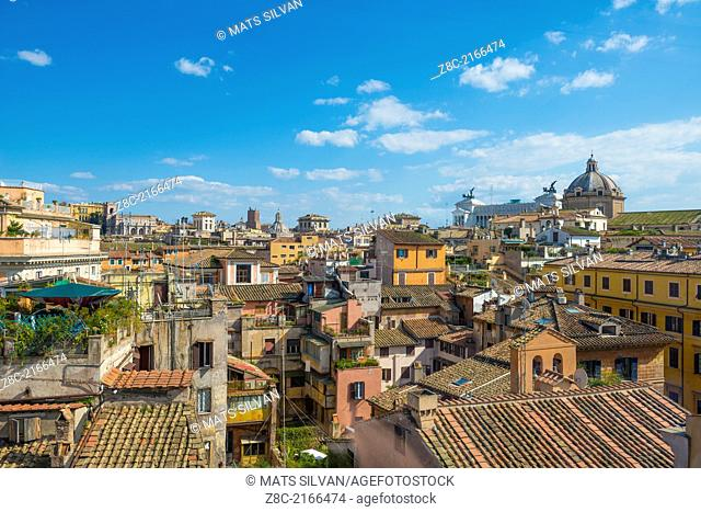 Panoramic view over the roofs and Vittorio Emanuele building In Rome, Italy