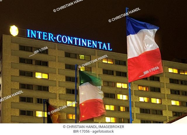 The hotel Intercontinental with flags of France and Italy Vienna Austria