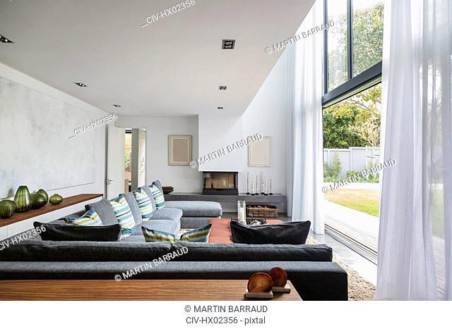 Home showcase interior living room open to garden