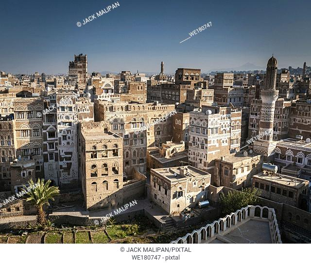 view of downtown sanaa city old town traditional arabic architecture skyline in yemen