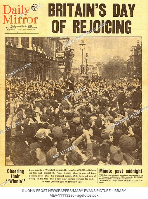 1945 Daily Mirror front page VE Day
