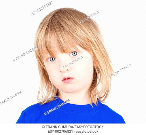 portrait of a boy with long blond hair in blue top - isolated on white