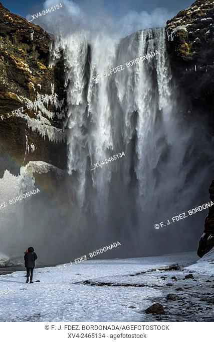 Skogafoss waterfall in winter, Iceland