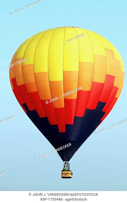Hot air balloons flying at the 30th Annual Quick Chek Festival of Ballooning at Thor Soldberg Airport in Readington, New Jersey The three day festival is one of...
