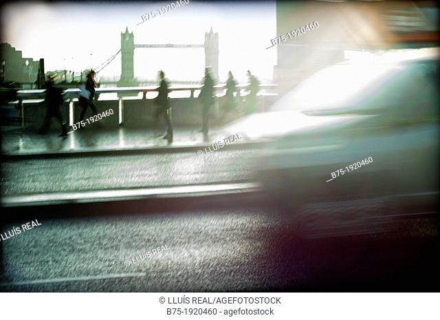 Rush hour in London Bridge, London, England, UK