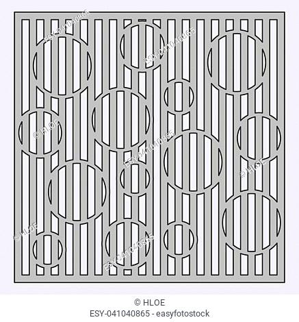 Template for cutting. Circle line pattern. Laser cut. Ratio 1:1. Vector illustration