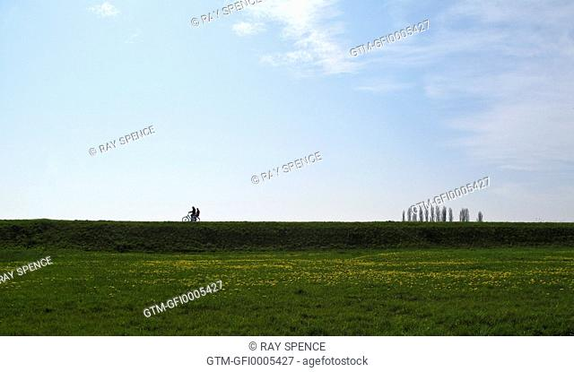 cyclists in Dutch landscape