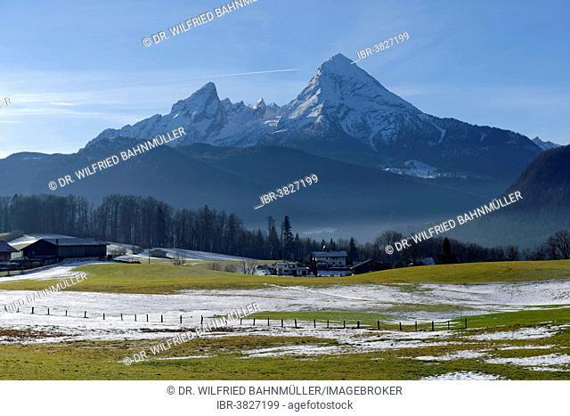 Watzmann mountain above the meadows of Bischofswiesen, Upper Bavaria, Bavaria, Germany