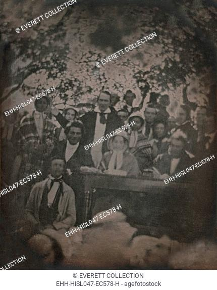 Abolitionist, Frederick Douglass, at the Fugitive Slave Law Convention, Cazenovia, New York, 1848. Douglass is seated between the famous fugitive slave sisters