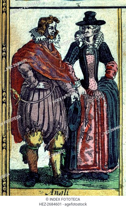 British types, colored engraving from the book 'Le Theatre du monde' or 'Nouvel Atlas', 1645, cre?
