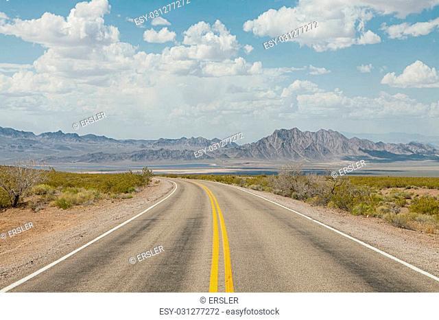 panoramic view of hot summer road through the Nevada desert