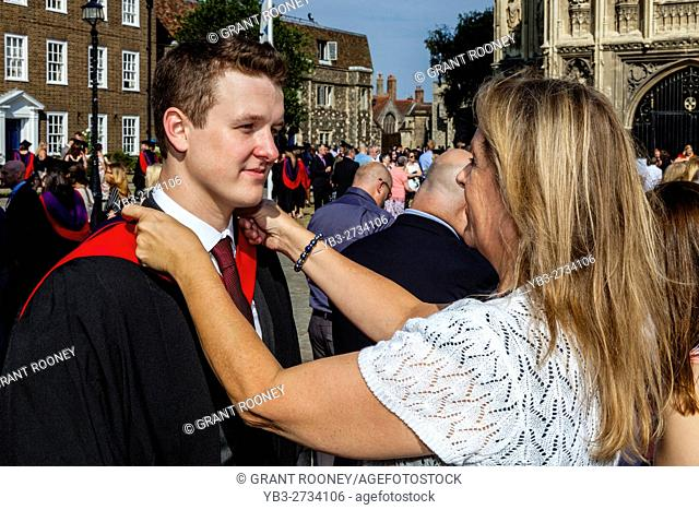A Proud Mother With Her Graduate Son At A University Graduation Ceremony, Canterbury Cathedral, Canterbury, Kent, UK