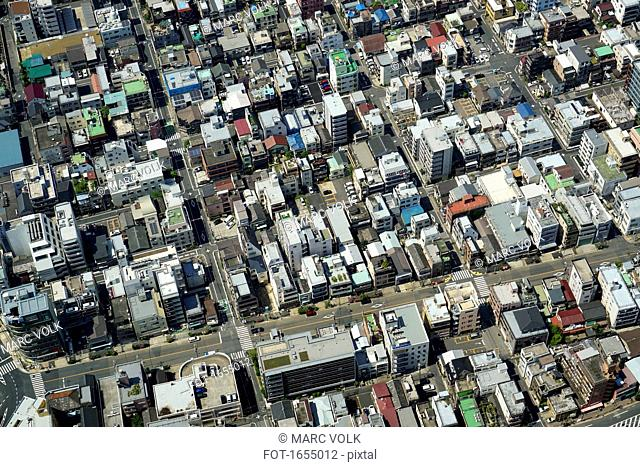 Aerial view of district in city, Tokyo, Japan