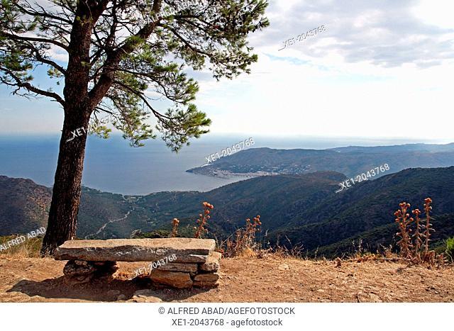 Bench, El Port de la Selva from the Serra de Verdera, Alt Emporda, Catalonia, Spain