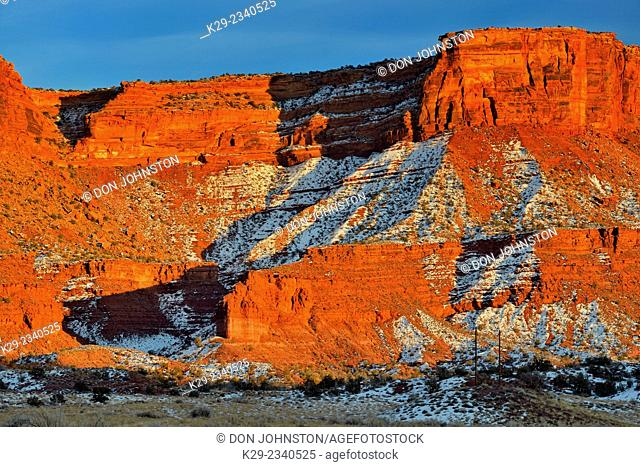 Red rock formations with snow in winter near sunset, Colordao Riverway Recreation Area, Utah, USA